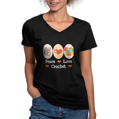 Peace Love Crochet Women's V-Neck Dark T-Shirt