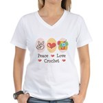 Peace Love Crochet Women's V-Neck T-Shirt
