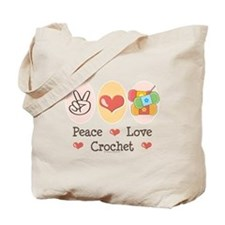 Peace Love Crochet Tote Bag