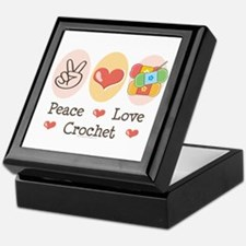 Peace Love Crochet Keepsake Box