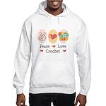 Peace Love Crochet Hooded Sweatshirt
