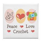 Peace Love Crochet Tile Coaster