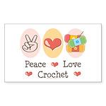 Peace Love Crochet Rectangle Sticker