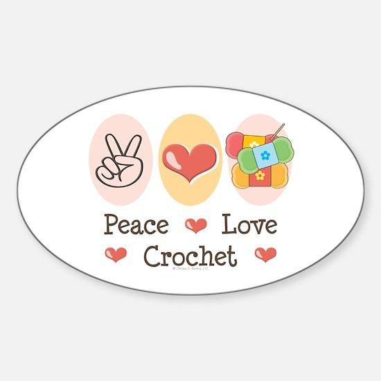 Peace Love Crochet Oval Decal