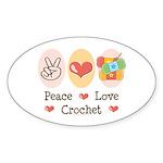 Peace Love Crochet Oval Sticker (10 pk)