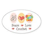 Peace Love Crochet Oval Sticker (50 pk)