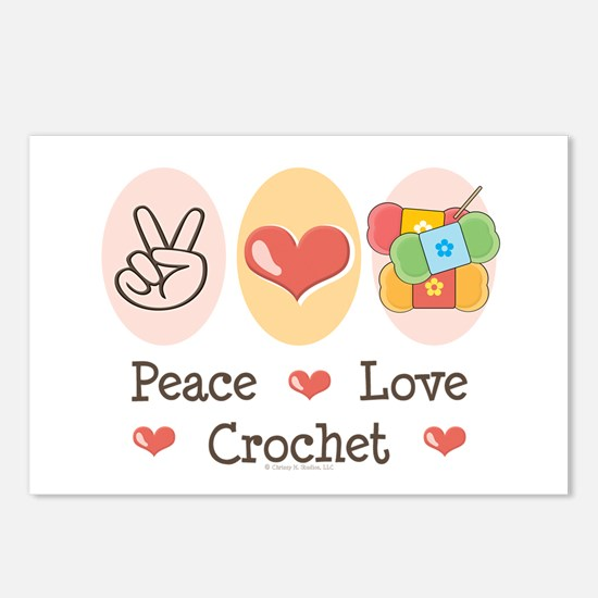 Peace Love Crochet Postcards (Package of 8)