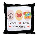 Peace Love Crochet Throw Pillow