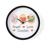 Peace Love Crochet Wall Clock