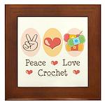 Peace Love Crochet Framed Tile