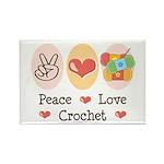Peace Love Crochet Rectangle Magnet (10 pack)