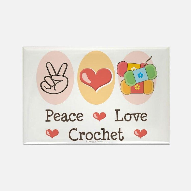 Peace Love Crochet Rectangle Magnet