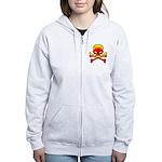 Flaming Skull & Crossbones Women's Zip Hoodie