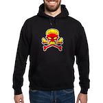 Flaming Skull & Crossbones Hoodie (dark)