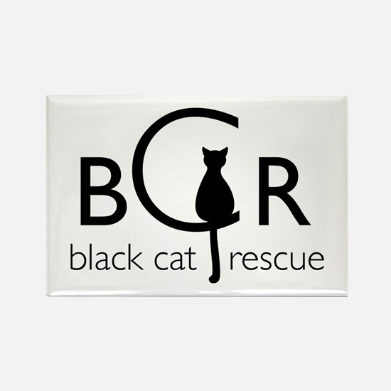 Black Cat Rescue Rectangle Magnet