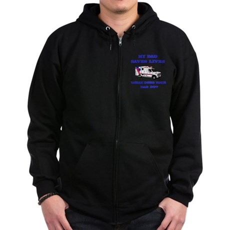 Ambulance Saves Lives-Dad Zip Hoodie (dark)
