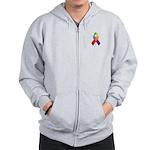 Rainbow Pride II Ribbon Zip Hoodie
