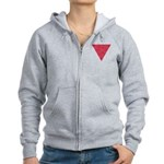 Pink Triangle Pocket Knot Women's Zip Hoodie