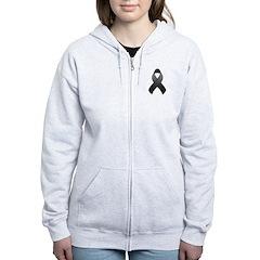 Black Awareness Ribbon Zip Hoodie