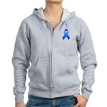 Blue Awareness Ribbon Women's Zip Hoodie