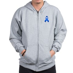 Blue Awareness Ribbon Zip Hoodie