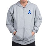 Blue Awareness Ribbon Zip Hoodie