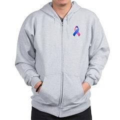 Blue and Pink Awareness Ribbon Zip Hoodie