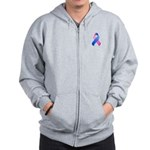 Blue and Pink Awareness Ribbon Zip Hoodie