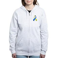 Blue and Yellow Awareness Ribbon Zip Hoodie