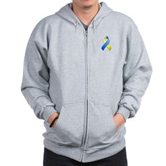 Blue and Yellow Awareness Ribbon Zip Hoodie