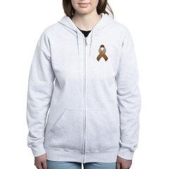 Brown Awareness Ribbon Zip Hoodie