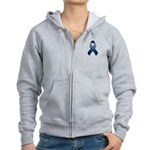 Dark Blue Awareness Ribbon Women's Zip Hoodie