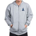 Dark Blue Awareness Ribbon Zip Hoodie