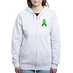 Green Awareness Ribbon Zip Hoodie