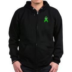 Green Awareness Ribbon Zip Hoodie (dark)