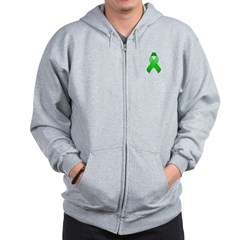 Green Awareness Ribbon Zip Hoodie