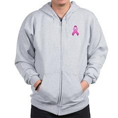 Hot Pink Awareness Ribbon Zip Hoodie