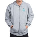 Light Blue Awareness Ribbon Zip Hoodie