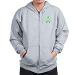 Light Green Awareness Ribbon Zip Hoodie