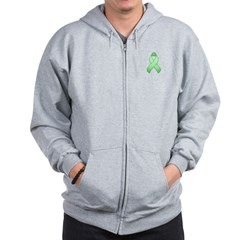 Light Green Awareness Ribbon Zip Hoodie
