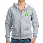 Lime Awareness Ribbon Women's Zip Hoodie