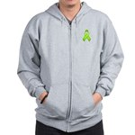 Lime Awareness Ribbon Zip Hoodie
