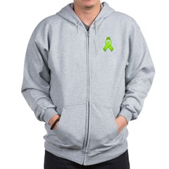 Lime Awareness Ribbon Zip Hoodie