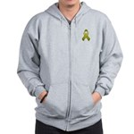 Olive Awareness Ribbon Zip Hoodie
