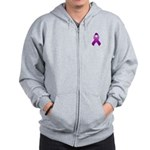 Purple Awareness Ribbon Zip Hoodie