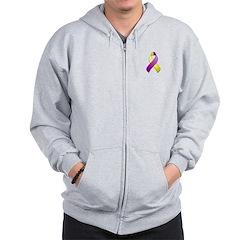Purple and Yellow Awareness Ribbon Zip Hoodie