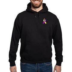 Purple and Yellow Awareness Ribbon Hoodie (dark)