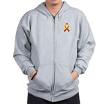 Red and Yellow Awareness Ribbon Zip Hoodie