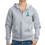 Teal Awareness Ribbon Women's Zip Hoodie