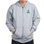 Teal Awareness Ribbon Zip Hoodie